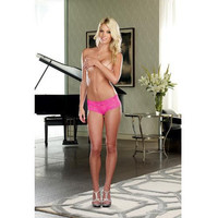 Stretch Lace Low Rise Cheeky Hiphugger Panty w/Scalloped Lace & Satin Bow Trim Hot Pink XL