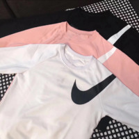 """Nike"" Fashion long sleeve sweater thick Pink"