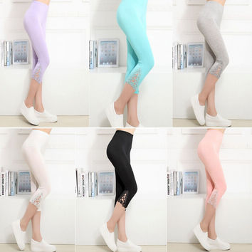 Womens Cosy Sports Casual Lace Pants for Summer