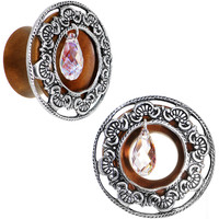 "5/8"" Clear Rosewood Trumpet Plug Set Created with Swarovski Crystals"