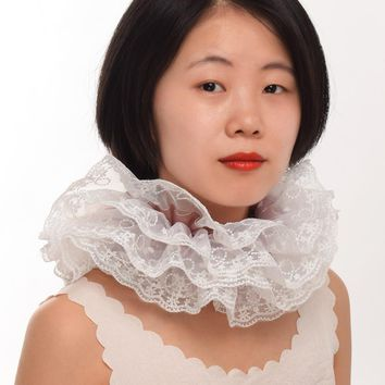 42cm Vintage Lace Collar Elizabethan Victorian Steampunk Neck Ruff Ruffled Collar Cosplay Props 3 Colors