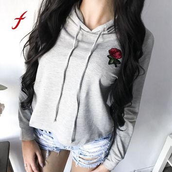 FEITONG Sweatshirt For Women Fashion Fall Rose Applique Embroidery Hoodies sweatshirt Tops Blusa Autumn Winter Jumper Pullover