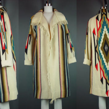 Vintage Chimayo Coat Fringe Blanket Native Southwestern Jacket Cream XS S Ladies Womens