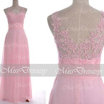 Pink Prom Dresses, Long Chiffom Prom Gown, 2014 Straps Lace /Chiffon Long Prom Dresses, Pink Evening Dresses, Pink Chiffon Formal Gown