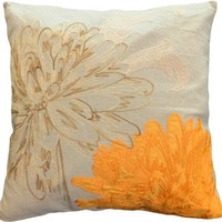 "Decorative Flower Emboirdery & Applique Floral Throw Pillow Cover 18"" Orange"