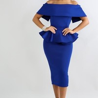 Lola off shoulder flare peplum dress
