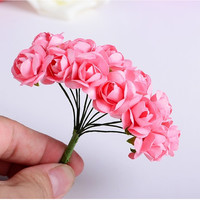 144PCS/lot 1cm head Multicolor Artificial Paper Flowers Rose Used For Decorative Gift