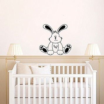 Cute Bunny Rabbit with Custom Personalized Name Vinyl Wall Words Decal Sticker Graphic
