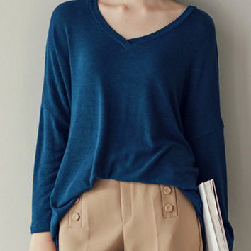 V Neck Long Sleeve Loose T-shirt