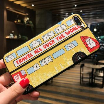 Yellow Bus Pattern Case for iPhone X 8 7 6S Plus &Gift Box