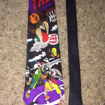 Sale!! Vintage LOONEY TUNES Mania 1993 Polyester Tie cartoon Mens Warner Bros necktie
