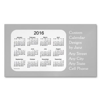 2016 Silver Business Calendar by Janz Magnet Magnetic Business Cards (Pack Of 25)