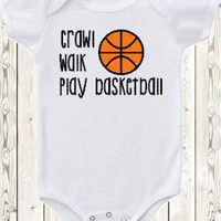 Basketball Onesuit ® brand bodysuit or shirt / crawl walk play basketball / sports / new baby gift or baby shower gift for boy or girl /