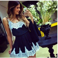 White Lace Patchwork Navy Party Dress = 1782332804