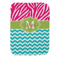 Pink Green Blue Zebra Personalized Burp Cloth