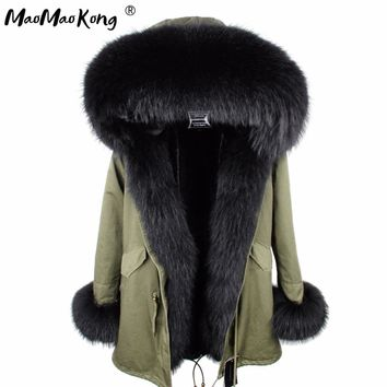 mini True Fur Parka women jacket winter Hooded Warm raccoon fur coat  Natural raccoon fur casual Parkasfaux fur coatLining