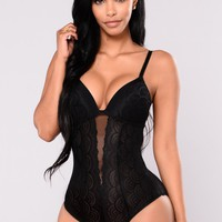 With You Tonight Teddy Bodysuit - Black