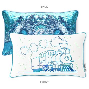 Railway Train Mermaid Pillow with Blue & Silver Reversible Sequins
