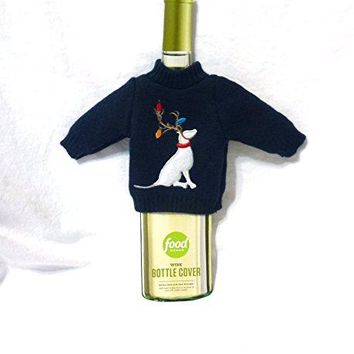 Food Network Christmas Holiday Wine Bottle Cover Dog wLights on Antlers