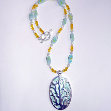 Coral Reef Beaded Pendant Necklace, Yellow, Mint, Light Blue, Silver