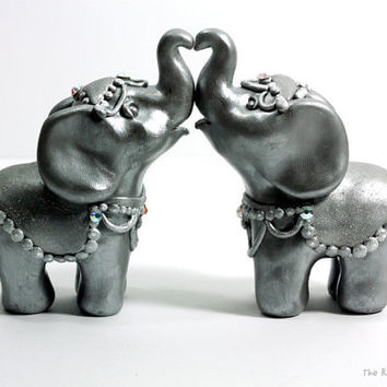 Silver Elephant Wedding Cake Toppers - Handmade Original Sculptures Ready to Ship