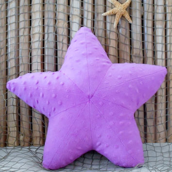 Starfish pillow, minky dot starfish, nautical baby, ocean living pillows, coastal living, baby shower gifts,wild orchid starfish,sealife