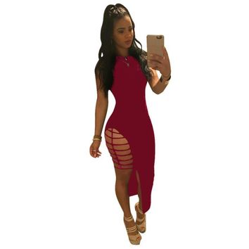 2019 New Sexy Hollow Out Asymmetrical Maxi Dress New Summer Working Women Clothing Sleeveless Bodycon Party Club Dresses