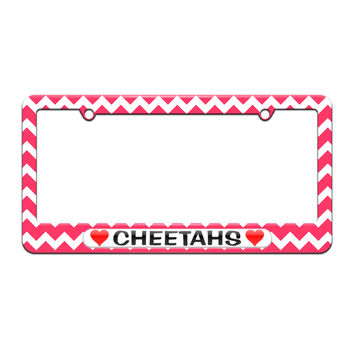 Cheetahs Love with Hearts - License Plate Tag Frame - Pink Chevrons Design