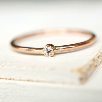 Diamond Ring, Rose Gold Ring, Engagement Ring, Baby Diamond Ring, Stacking Ring, Anniversary Gift, Unique Ring, Wedding Band, Baby Shower