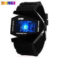 Hot Sale SKmei Brand Aircraft Shape Children LED Digital Watches 5ATM Waterproof Colorful Jelly LCD Movement Kids Sports Watch