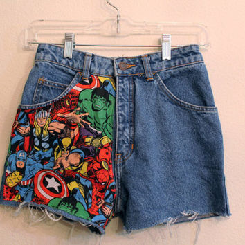 Marvel High Waisted Shorts 24 inches size 0