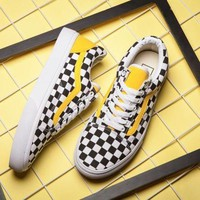 Vans Women Men Fashion Casual Grid Old Skoo Checkerboard Old Skool Sneaker Shoe I