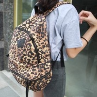 Personalized Large Capacity Leopard Backpack Waterproof Pu Shoulder Bag/ Girl's Book Bag