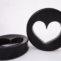 Heart Ebony Wood Plugs (2 gauge - 3 inch)