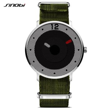 SINOBI Sport Watch Men's Wrist Watch Army Green Nylon Band Watches Top Luxury Brand Male Geneva Quartz Clock Male Wristwatch