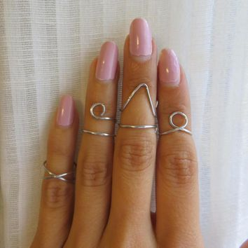 Silver Midi Above The Knuckle Rings    Set Of 4 Amuminum Wire Wrap Jewelry
