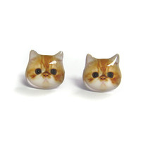 Cute Orange and white Persian Cat Kitten Stud Earrings - A14E84 Made To Order