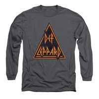 Def Leppard Men's  Distressed Logo  Long Sleeve Black Rockabilia