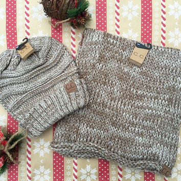 CC Beanie & Scarf Set In Taupe