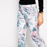 ASOS Cigarette Trouser in Textured Floral Print