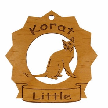 7196 Korat Cat Personalized Wood Ornament