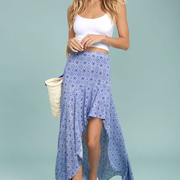 Mediterranean Beach Blue and White Print High-Low Maxi Skirt