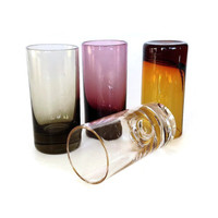 Vintage Shot Glasses, Hand Blown, Multi Color Bar Glasses, Mid Century