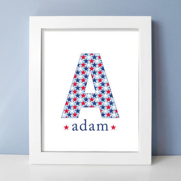 Red White and Blue Baby Boy Nursery Art Monogram Print Patriotic Stars - Military Nursery Decor - Custom Nursery Print / Kids Room Wall Art