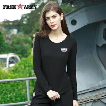 FREE ARMY High Quality T-Shirts Basic Long Sleeve Military Camo Women T-Shirt Four Colors Casual Tshirts O-Neck Tees Tops Female