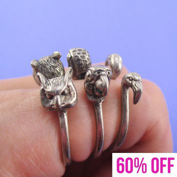 3D Bird Inspired Rings in the Shape of Flamingo Parrot and Owl in Silver