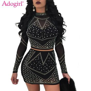Adogirl Women Sexy Diamonds Two Piece Night Club Dress Turtleneck Long Sleeve Crop Top Bandage Micro Mini Party Dresses Vestidos
