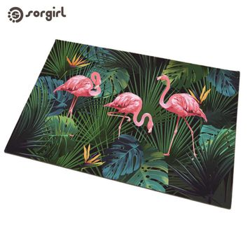 Autumn Fall welcome door mat doormat Flamingos mat party decoration  s Front s Carpet Entrance Indoor Tropical rain forest plant Non-slip Floor Mat AT_76_7