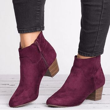 Low Chunky Heel Suede Round Toe Ankle Boots