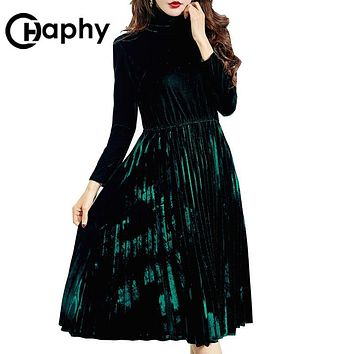 Turtleneck Pleated Velour Dress 2017 Europe A-Line Velvet Dresses High Waist Velour Dresses Elegant Velour Long Sleeve Dress